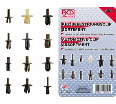 Clips, VW, Audi, Volvo, Chrysler, Ford & Mercedes, 350 delar